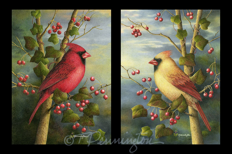 Jewel Tones -- Set of Two Cardinals